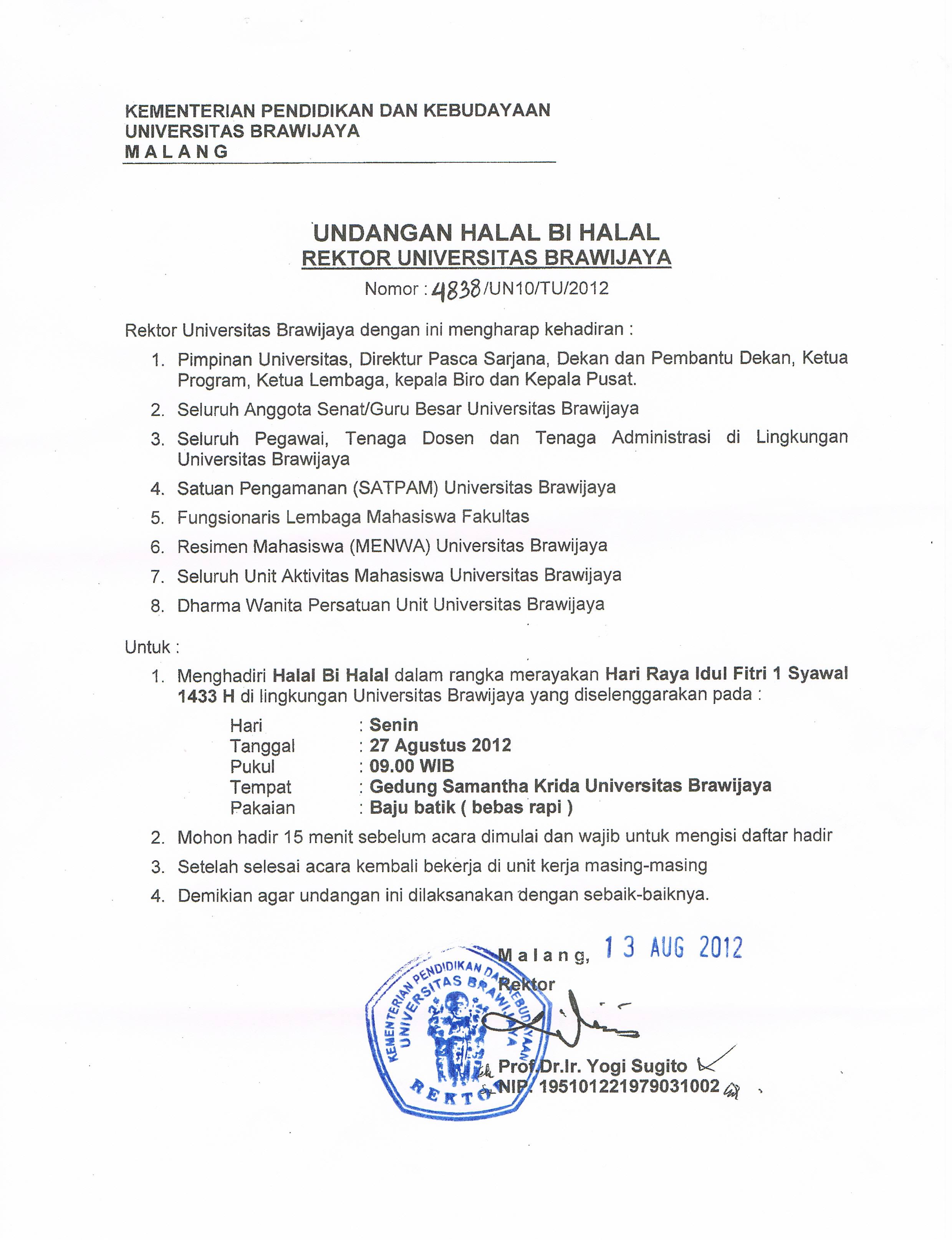 Undangan Halal Bihalal 2012 – Fakultas Teknologi Pertanian