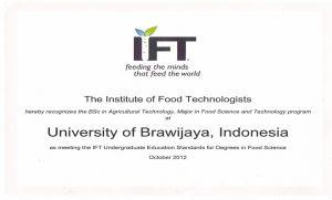 Sertifikat Akreditasi Internasional IFT