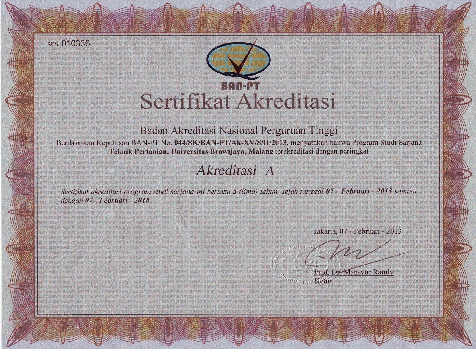 Sertifikat Akreditasi TEP BAN_PT