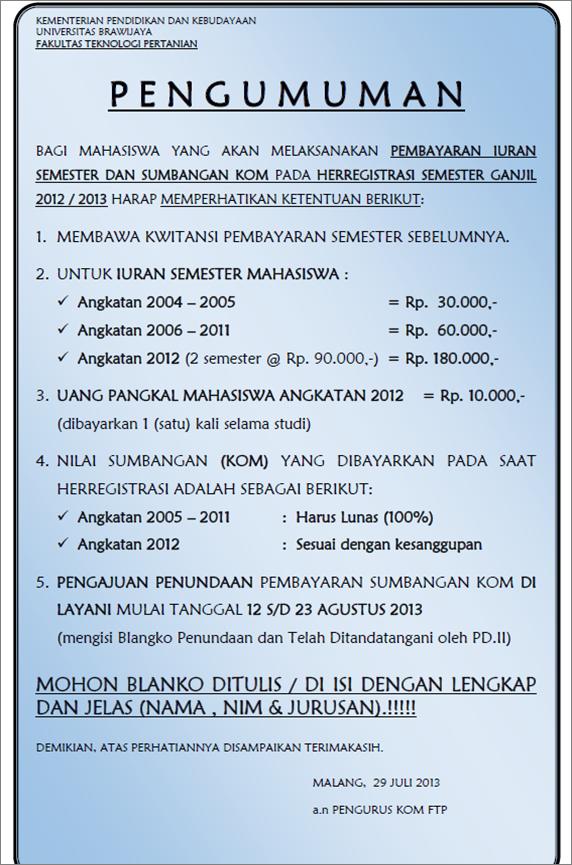 Pengumuman Pembayaran Iuran Dan Sumbangan Kom Fakultas